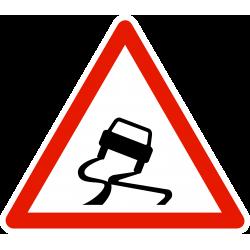 Panneau de danger chaussée particulièrement glissante A4