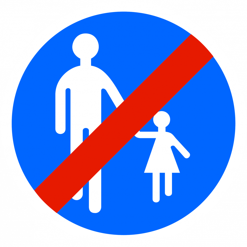 Panneau d'obligation fin de chemin obligatoire pour piétons B41
