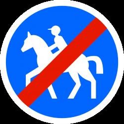 Panneau d'obligation fin de chemin obligatoire pour cavaliers B42