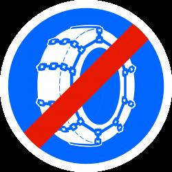 Panneau d'obligation fin d'obligation de l'usage des chaînes à neige B44