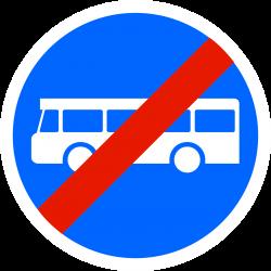Panneau d'obligation fin de voie réservée aux transports en commun B45