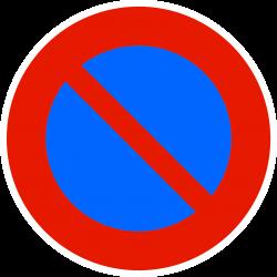 Panneau stationnement entrée d'une zone à stationnement interdit B6A1