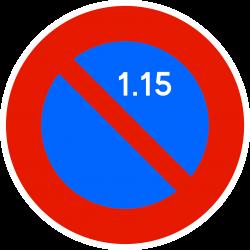 Panneau stationnement zone à stationnement unilatéral à alternance semi-mensuelle B6A2