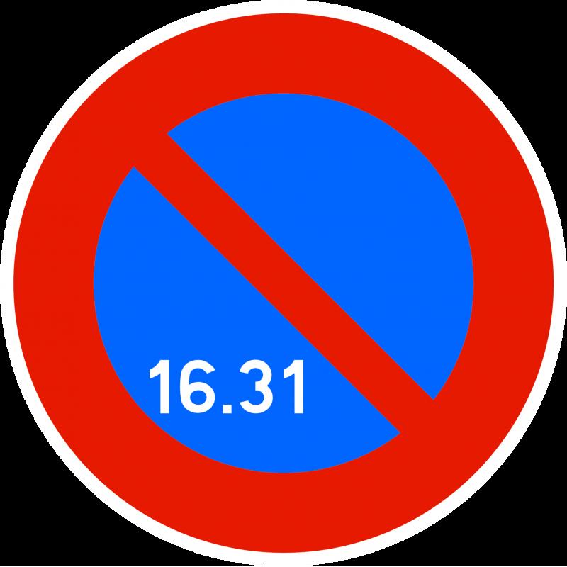 Panneau stationnement zone à stationnement unilatéral à alternance semi-mensuelle B6A3