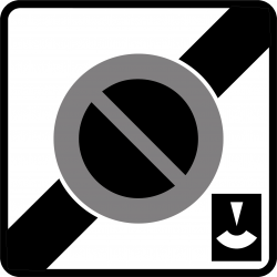Panneau stationnement sortie zone stationnement durée limitée avec contrôle par disque B50C