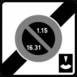 Panneau stationnement sortie zone stationnement alternance et durée limitée avec disque B50E