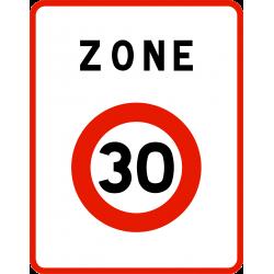 Panneau zone circulation entrée d'unee zone à vitesse limitée à 30 km/h B30