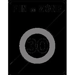 Panneau zone circulation sortie d'une zone à vitesse limitée à 30 km/h B51