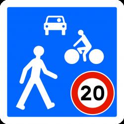Panneau zone circulation entrée d'unee zone de rencontre B52