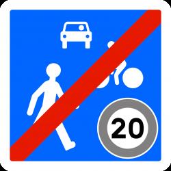 Panneau zone circulation sortie d'unee zone de rencontre B53