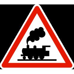 Panneau de danger passage à niveau sans barrière ni demi-barrière A8