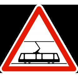 Panneau de danger traversée de voies de tramway A9