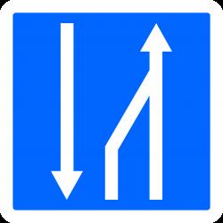 Panneau indication fin d'un créneau de dépassement à trois voies affectées C30