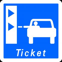 Panneau indication borne de retrait de ticket de péage C62