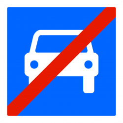 Panneau indication fin de route à accès réglementé à la circulation automobile C108