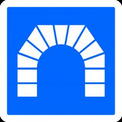 Panneau indication entrée d'un tunnel C111