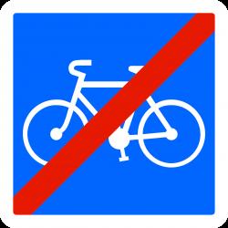 Panneau indication fin d'une piste/bande cyclable réservée aux cycles à 2/3 roues C114