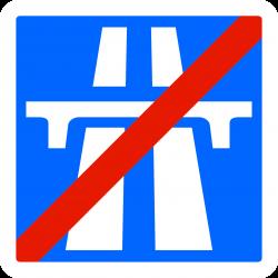 Panneau indication fin d'une section d'autoroute C208