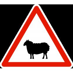 Panneau de danger passage d'animaux domestiques A15A2
