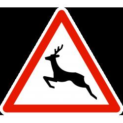 Panneau de danger passage d'animaux sauvages A15B