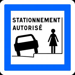 Panneau services stationnement tutorisé sur trottoir CE50N