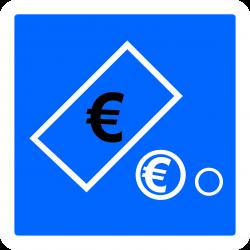 Panneau indication paiement automatique par pièces et billets C64c2