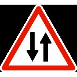 Panneau de danger circulation dans les deux sens A18