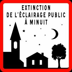 Panneau de danger extinction de l'éclairage public