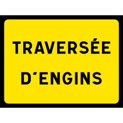 Panneau indication temporaire traversée d'engins KC1SC