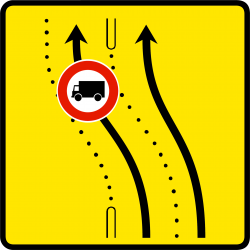 Paneau voierie temporaire présignalisation de changement de chaussée ou de trajectoire KD8-2b