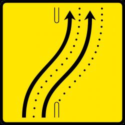 Paneau voierie temporaire présignalisation de changement de chaussée ou de trajectoire KD8-4