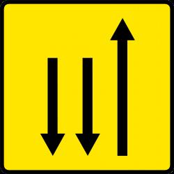 Paneau voierie temporaire présignalisation de changement de chaussée ou de trajectoire KD9-1