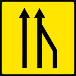 Paneau voierie temporaire réduction du nombre des voies KD10a-2