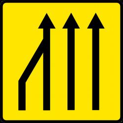Paneau voierie temporaire réduction du nombre des voies KD10a-3