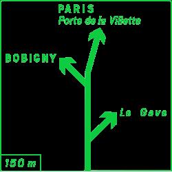 Panneau de présignalisation diagrammatique des carrefours complexes Dv42a1