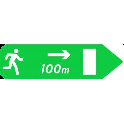 Panneau de jalonnement piétonnier d'une issue de secours vers la droite Dp2a