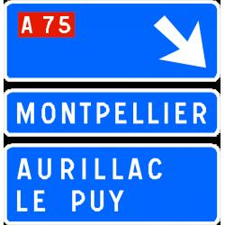 Panneau de avancée de bifurcation autoroutière D31f