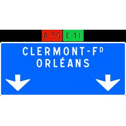 Panneau de avancée d'affectation de voies de bifurcation autoroutière Da31c