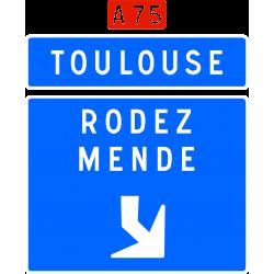 Panneau de avancée d'affectation de voies de bifurcation autoroutière Da31f