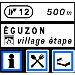 Panneau de présignalisation village étape D44