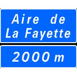 Panneau de présignalisation aire de service repos sur autoroute D46a