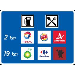 Panneau de présignalisation deux aires de service autoroutières D48a