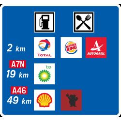 Panneau de présignalisation aire de service autoroutière avant bifurcation D48b