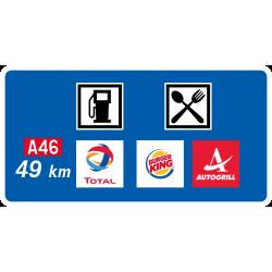 Panneau de présignalisation aire de service autoroutière avant bifurcation D48c