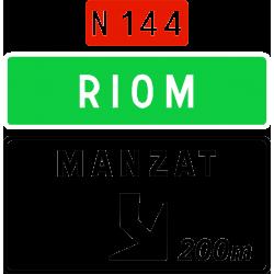 Panneau d'avertissement avec affectation de voies de sortie non numérotée Da41e