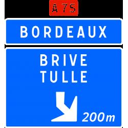 Panneau d'avertissement avec affectation de voies bifurcation autoroutière Da41f
