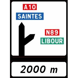 Panneau d'avertissement bifurcation autoroutière simple D52b