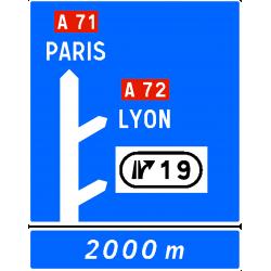 Panneau d'avertissement sortie avec affectation de voies D52c