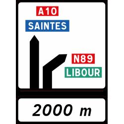 Panneau d'avertissement avec affectation de voies Da52b