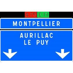 Panneau de confirmation filante utilisé sur autoroute D62c